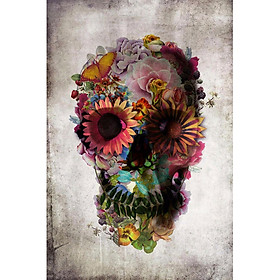 Dod Flower Skull Comic Silk Poster Pop Deco Poster Wall Painting Craft