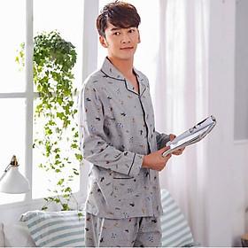 Bộ Pyjamas Cotton Tay Dài Họa Tiết Hình Thú Nanjiren