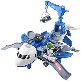 Bộ đồ chơi máy bay  KAVY chở đồ kèm 4 xe cảnh sát bằng kim loại, có giàn cẩu, thang trượt, biển báo đa chức năng chạy pin