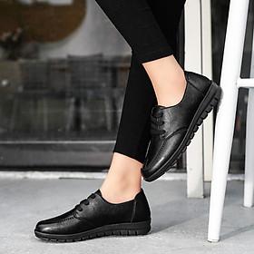 Giày Oxford nữ đế bằng ren cổ điển kiểu Anh