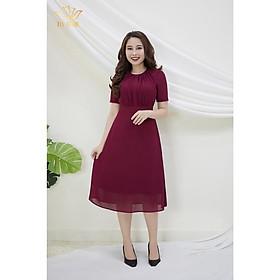 Đầm Thiết kế Đầm xòe Đầm thời trang công sở Đầm trung niên thương hiệu TTV383 đỏ mận - đầm from a cổ tròn dập ly CD