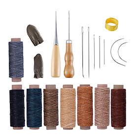 Leather Craft Sewing Working Tool Kit with Stitching Needle Waxed Thread Awl