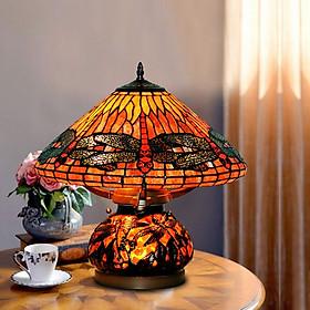 Đèn bàn trang trí Tiffany chuồn chuồn hổ phách cây nấm