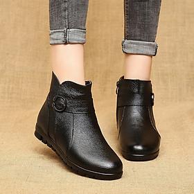 Boots nữ da trơn phối đai đế 2.5cm 8872