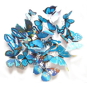 Bộ 12 bướm 3D trang trí nhà có nam châm kích cỡ đa dạng