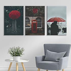 """Bộ 3 Tranh Ép Gỗ MDF Treo Tường Quán Cafe """"Red Umbrella"""" W172"""