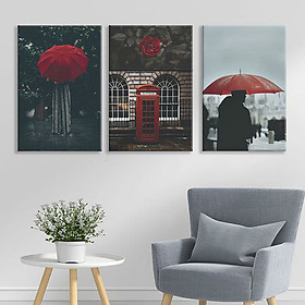 "Bộ 3 Tranh Canvas Viền Composite Treo Tường Quán Cafe ""Red Umbrella"" W172"
