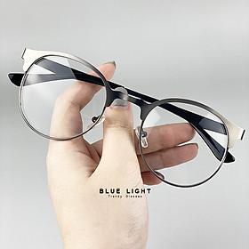Kính Giả Cận, Gọng Kính Cận Nam Nữ Mắt Tròn Gọng Kim Loại Xám Hàn Quốc - BLUE LIGHT SHOP