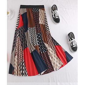 Chân váy xếp ly Vintage dáng dài chất không nhăn VAY35 phối nhiều màu (Free size)
