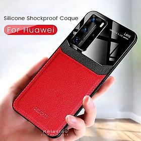 Ốp điện thoại bằng da và PC silicon chống sốc cho Huawei P40 Lite P 40