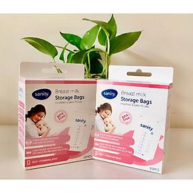 Combo 2 hộp túi trữ sữa SANITY , mỗi hộp 30 túi, thể tích 210ml/túi, túi 2 Zipper, nhựa cao cấp không chứa BPA