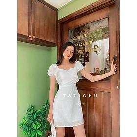 đầm trắng hoa cúc áo ngực