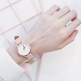 Đồng hồ thời trang nữ V789 mặt tròn dây da nhung