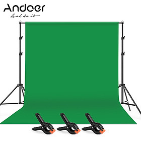 Andoer 2 * 3m/6.6 * 10ft Studio Photography Green Screen Backdrop Background Washable Polyester-Cotton Fabric with 2 *