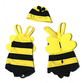 9i9 long love long baby swimsuit boys and girls children's jumpsuit small bee models hot spring bathing suit swimming cap set baby swimsuit 1900141 L