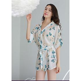 Đồ ngủ nữ sexy tinh tế kiểu áo choàng hoạ tiết hoa mẫu đơn - CDAN39