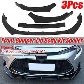 3PCS Matte Black Front Bumper Lip Body Kit Spoiler For Toyota Corolla 2019 2020