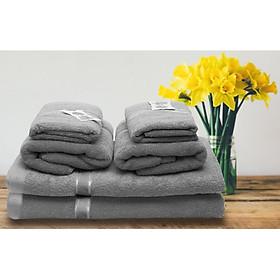 Set 6 Khăn Tắm gia đình cao cấp gồm 2 khăn tắm lớn, 2 khăn gội, 2 khăn mặt - Màu Ghi Xám
