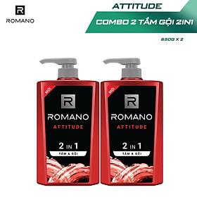 Combo 2 Tắm gội 2 trong 1 Romano hương nước hoa 650g/chai