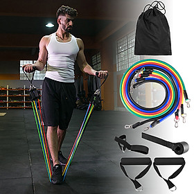 16pcs Fintess Resistance Bands Set Exercise Tube Bands Jump Rope Door Anchor Ankle Straps Cushioned Handles Fitness-3