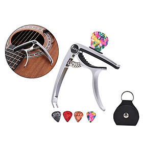 3in1 Alloy Universal Guitar Capo with 5 Picks and Leather Pick Holder for Acoustic Guitars Electric Guitar Ukuleles Mandolins Bass Guitars