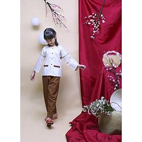 Bộ áo bà ba cho bé hoa trắng nâu JADINY CAB003