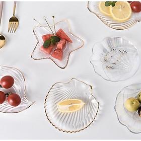 bộ đĩa thuỷ tinh hình nghêu - sò - sao biển viền vàng