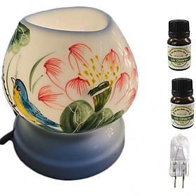 Combo Đèn xông tinh dầu tam giác TG9 và 2 chai tinh dầu sả chanh Eco oil 10ml và 1 bóng đèn