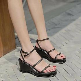 Giày sandal đế xuồng nữ đế gợn sóng phối quai ngang cách điệu - Giày đế xuồng nữ cao 7cm - Giày nữ da mềm 2 màu Trắng và Đen - Linus LN237