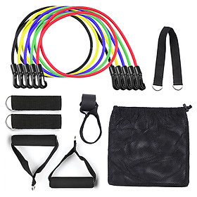 11pcs Resistance Bands Set Workout Fintess Exercise Tube Bands Door Anchor Ankle Straps Cushioned Handles with Carry-2
