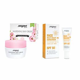 Combo Kem Chống Nắng Dành Cho Da Mặt 20ml Và Kem Trắng Da Ban Ngày Với Gigawhite Và Collagen 30g Nagano - Face Milky Cream Sunscreen & Whitening Day Cream - Bảo vệ làn da khỏe mạnh