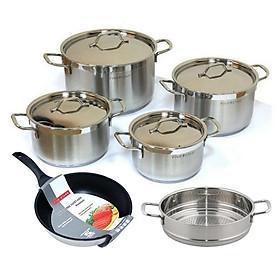 Bộ nồi xửng chảo chống dính 3 đáy inox 304 FiveStar Plus vancover bếp từ nắp inox(1N16cm x1N18cm x1N20cmx1N24cm x1chảo24cmx1xửng24)