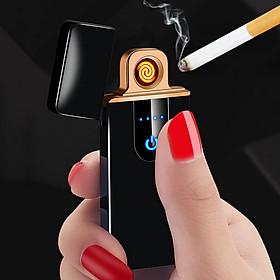 Quẹt lửa điện cảm ứng vân tay - Màu đen