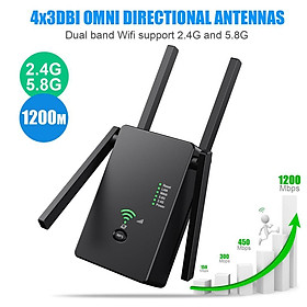 Super Boost WiFi Range Extender Up to 1200Mbps  Super Enhanced WiFi Enhanced , Access Point Full Signal Coverage  AP Mode
