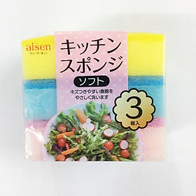 Hình đại diện sản phẩm Set 3 mút rửa chén 2 lớp mềm Nhật Bản KCJ21