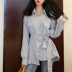 Đầm sơ mi dáng dài form rộng phong cách Hàn Quốc
