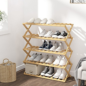 Kệ giày dép nhiều  tầng gỗ tre, giá giày gấp xếp gọn nhẹ, không cần lắp ráp để giày ,dép vật dụng, cây cảnh cho người lớn sang trọng cho gia đình, nhà trọ, chung cư, kí túc xá_HL137-KDG