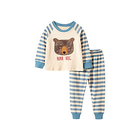 Bộ đồ cotton thun dài tay cho bé thêu gấu kẻ cực dễ thương 2-7T