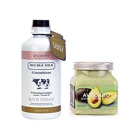 Combo Sữa Tắm Trắng Da Double Milk Và Tẩy Tế Bào Chết Body Làm Sáng Mịn Da Scentio Avocado 350ml
