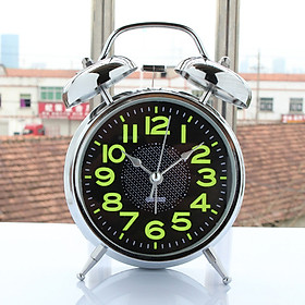 4inch Old Fashioned Electrosilvering Metal Alarm Clock with Night Light Gift
