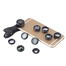 10 in 1 Smartphone Lens Kit 15X Macro Lens 0.63X Wide Angle Lens 198-Degree Fisheye Lens X2 Telescopic Lens Filters