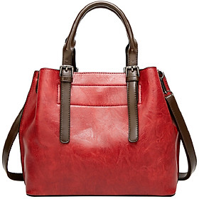 Women's Joker Shoulder Sling Crossbody Bucket Bag PU Leather Retro Multi-functional Handbag