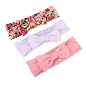 3pc Baby Girl Headband Children's Bow Elastic Flower Hair Band Kids Stretchy New born Headwear Hair Band Accessories