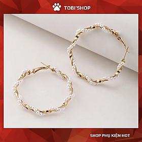 Khuyên tai nữ tròn to xoắn đính ngọc trắng TB32 - TOBI'SHOP