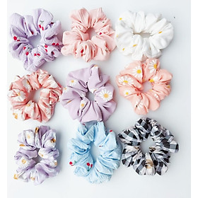 Combo 9 dây cột tóc Scrunchies hottrend họa tiết hoa cúc và có màu tím xinh cực xinh - chất liệu cao cấp