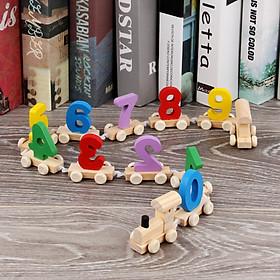 Đồ chơi đoàn tàu bằng gỗ chở số cho bé
