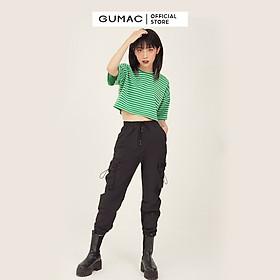 Áo croptop nữ sọc ngang GUMAC phong cách unisex năng động ATB343