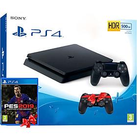 Bộ máy PS4 Slim 1TB CUH 2218B kèm Tay cầm và Pes 2019-hàng chính hãng
