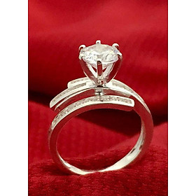 Hình đại diện sản phẩm Nhẫn nữ ổ cao sáu chấu gắn kim cương nhân tạo bạc 925 cao cấp - NU92 - trang sức Bạc QTJ(bạc)