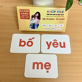 Bộ thẻ đọc Từ Đơn Từ Ghép Có Song Ngữ Việt - Anh Giúp Bé Phát Triển Vốn Từ, con nhanh nói nhanh biết mặt chữ